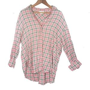 H&M Pink Plaid Striped Flannel Button Up Shirt